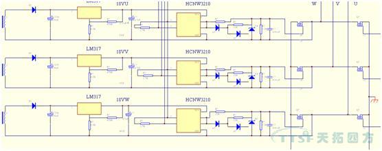 开关电源二次输出多种变频器电子板所需的直流电源:   主板工作电源